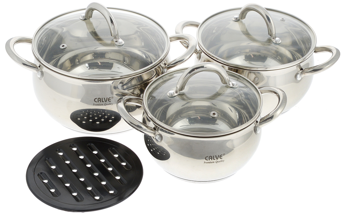 Набор посуды Calve, 7 предметов. CL-1068 набор кухонной посуды calve с подставкой 5 предметов cl 1829