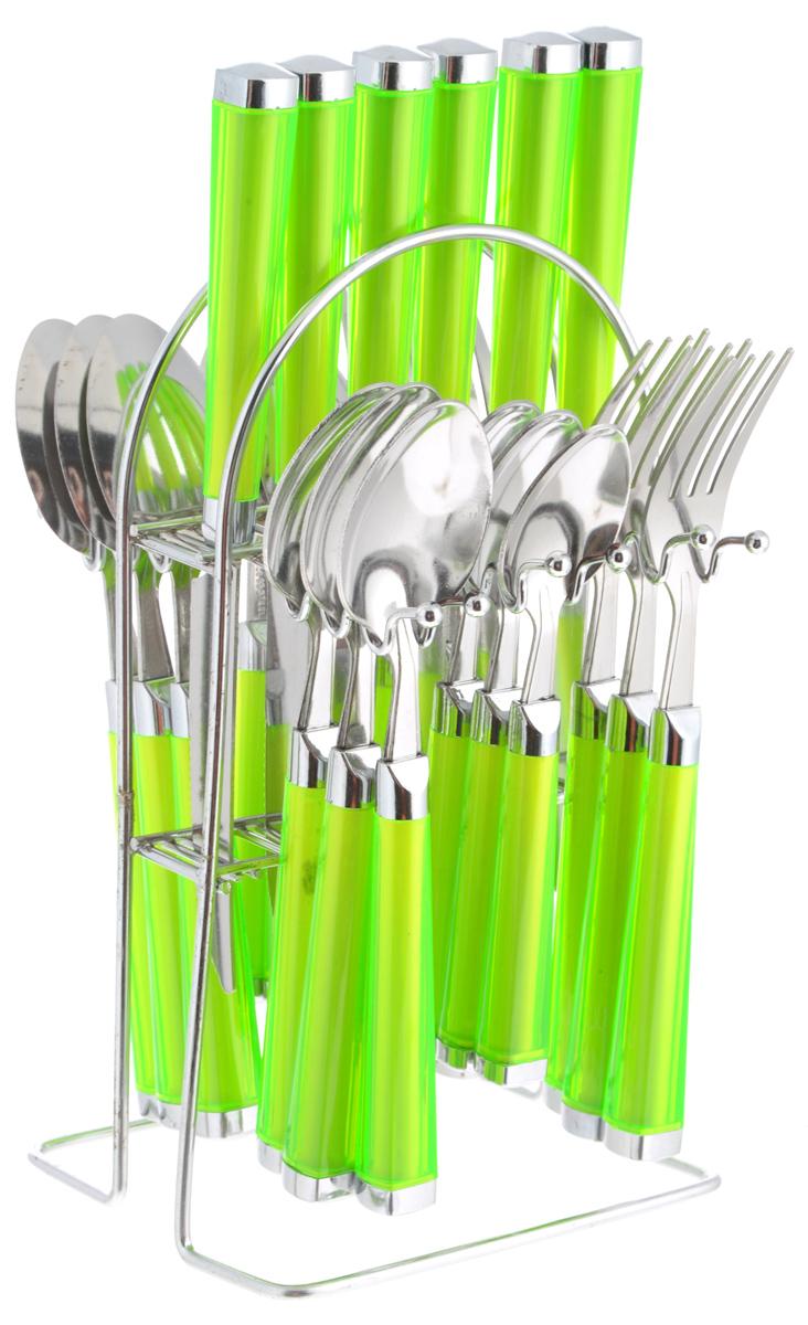 Набор столовых приборов Mayer & Boch, цвет: зеленый, 25 предметов. MB-2248822488_зеленыйНабор столовых приборов Mayer & Boch включает 6 столовых ножей, 6 столовых ложек, 6 столовых вилок, 6 чайных ложек и подставку. Приборы выполнены из высококачественной нержавеющей стали и снабжены пластиковыми ручками. Прекрасное сочетание свежего дизайна и удобство использования предметов набора придется по душе каждому. Набор столовых приборов Mayer & Boch подойдет для сервировки стола как дома, так и на даче и всегда будет важной частью трапезы, а также станет замечательным подарком. Длина ножей: 22 см. Длина столовых ложек: 21 см.Длина вилок: 20 см. Длина чайных ложек: 17 см. Размер подставки: 13 х 13 х 23 см.