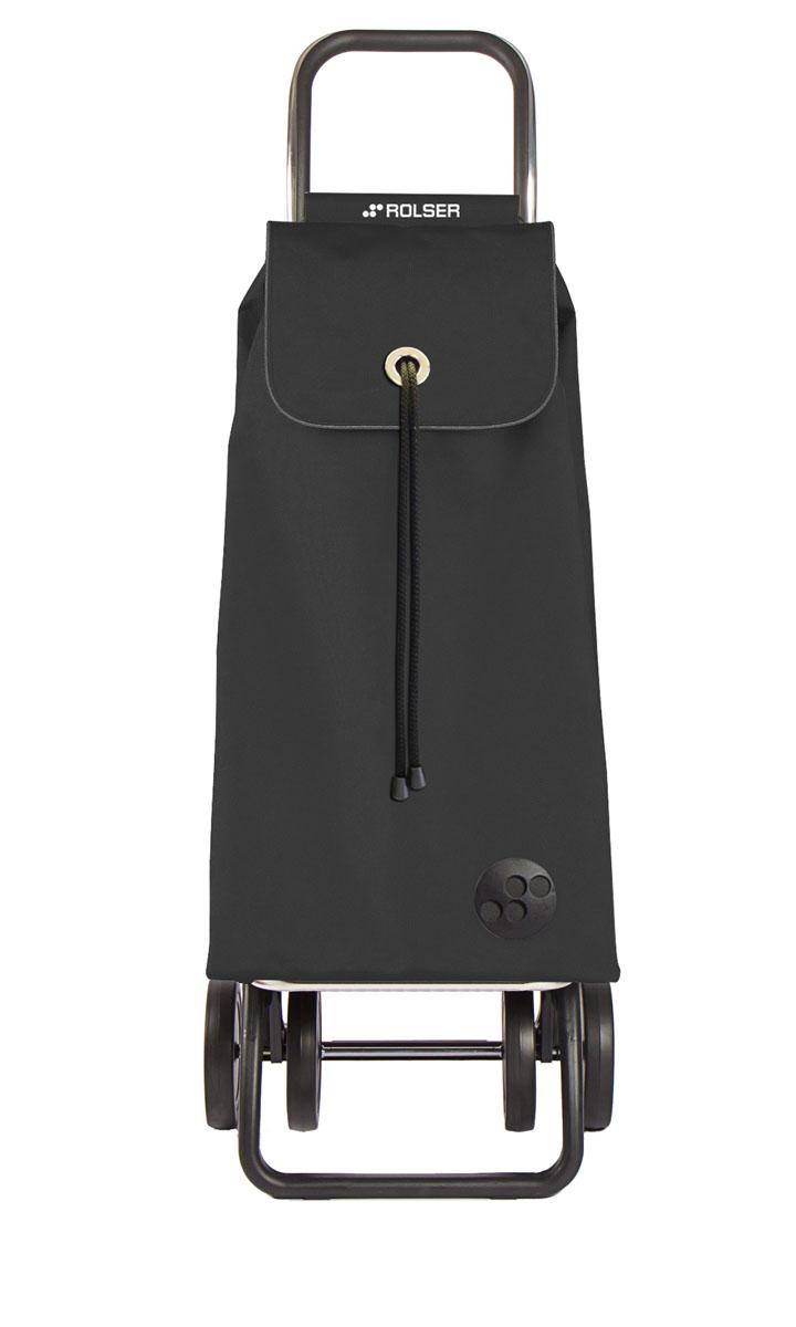 """Алюминиевая тележка для покупок """"Rolser"""" с 4 колесами. Колеса выполнены из резины EVA. Эргономичная ручка, складываемая передняя подставка. Сумка имеет форму рюкзака, ткань полиэстер, влагоустойчивая. Тележка не складывается. Объем: 43 л. Диаметр колес: 14 см. Рекомендованная нагрузка: 25 кг.  Чистка ручная или химчистка."""
