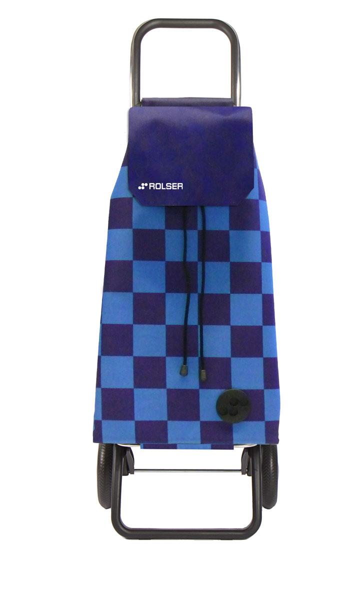 """Алюминиевая тележка для покупок """"Rolser"""" с 2 колесами. Колеса выполнены из резины EVA. Складываемая передняя подставка, занимает минимальное место в сложенном виде при хранении. Сумка имеет форму рюкзака, ткань полиэстер, влагоустойчивая, имеет удобное закрытие сумки и легко крепиться на раме. Тележка не складывается. Объем: 51 л. Диаметр колес: 16,5 см. Рекомендованная нагрузка: 25 кг.  Чистка ручная или химчистка."""