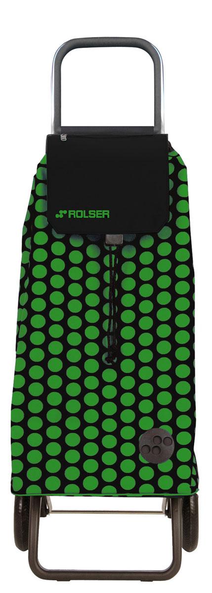 Сумка хозяйственная Rolser, на колесиках, цвет: зеленый, черный, 51 л сумка хозяйственная rolser на колесиках цвет verde 40 л