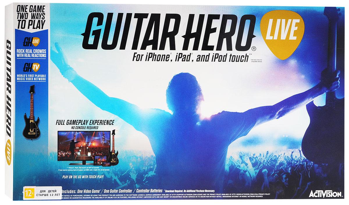 Guitar Hero Live для iPad, iPhone или iPod touchCBG 905Guitar Hero Live - контроллер-гитара, оптимизированная для мобильных устройств на базе операционной системы iOS (iPad, iPhone и iPod touch). Игра Guitar Hero Live представляет собой продолжение серии игр Guitar Hero, симулятора игры на электрогитаре. Принцип игры состоит в следующем - на экране располагается дорожка-гриф, по которой бегут ноты. Когда нота достигает края, её нужно сыграть - зажать на грифе контроллера-гитары соответствующую кнопку и нажать на струнную клавишу.Это превосходная музыкальная игра, где вам предстоит взять в руки гитару и играть перед толпой фанатов. Музыкальный симулятор перенесет вас на сцену, где перед вами откроются толпы фанатов и музыканты из группы. Эта игра проверит вашу хорошую реакцию и музыкальный слух, если вы будете играть хорошо, то зрители будут визжать от восторга, а если не будете попадать в такт или пропускать ноты, то услышите недовольный звук толпы и недовольство музыкантов. Набирайтесь опыта и устраивайте соревнования с участниками группы, доказывая всем, что вы лучший игрок. Открывайте новые треки и получайте максимум удовольствия от реалистичной игры на гитаре.Возраст: 12+Язык интерфейса игры: английскийТребуется постоянное соединение с ИнтернетомДля игры Guitar Hero Live для iPad, iPhone или iPod touch требуется установка приложения Guitar Hero Live. После Bluetooth-соединения устройства и гитары происходит разблокировка полной версии приложения (код не требуется).Совместимость с устройствами: iPad 4/Air/Air 2/mini/mini 2/mini 3; iPhone 5/5c/5s/6/6 Plus; iPod touch 6th generation