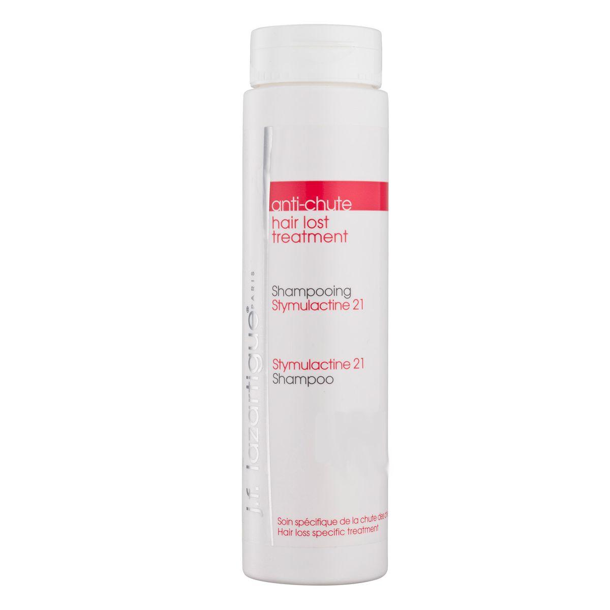 J.F.Lazartigue Шампунь от выпадения волос Стимулактин 21 200 мл01221Рекомендуется всем, кто периодически сталкивается с проблемой выпадения волос. Растительные гликопротеины шампуня восстанавливают дыхание клеток кожи головы, повышают жизнеспособность капилляров и волосяных луковиц. Микросферы из фосфолипидов с активными белковыми компонентами и аминокислотой таурином замедляют выпадение волос, стимулируют их рост. Силанолы (эссенциальный фактор активности клеток кожи головы и корней волос) препятствуют старению кожи, улучшают плотность и структуру волос. Шампунь также содержит противовоспалительные ингредиенты и антиоксиданты, которые способствуют оживлению и укреплению волос.