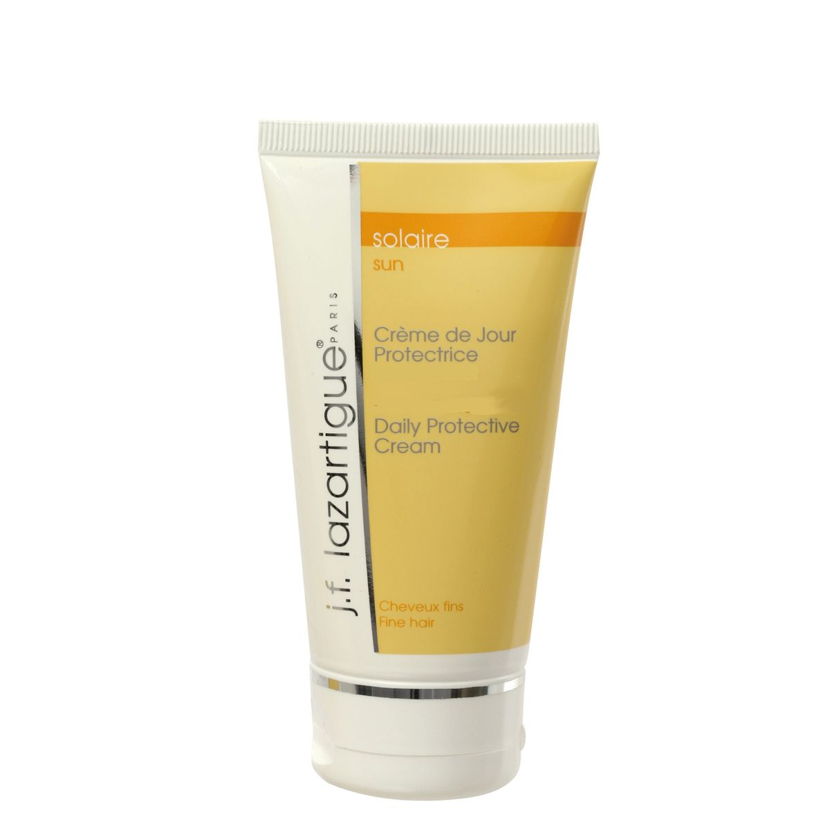 J.F.Lazartigue Солнцезащитный крем для волос для ежедневного использования 75 мл07511Крем легкой текстуры (крем-гель), обогащенный маслами макадамии и малины, питает волосы, делает их более послушными. Витамин F защищает волосы от внешних агрессивных факторов (загрязнений окружающей среды, ветра, солнечных лучей, морской воды и т.п.). Солнцезащитные фильтры (в том числе натуральные – экстракт подсолнечника) предотвращают выгорание волос после длительного пребывания на солнце. Крем помогает контролировать накопление в волосах статического электричества. Не утяжеляет волосы. Рекомендуется для тонких, сухих и тусклых волос.