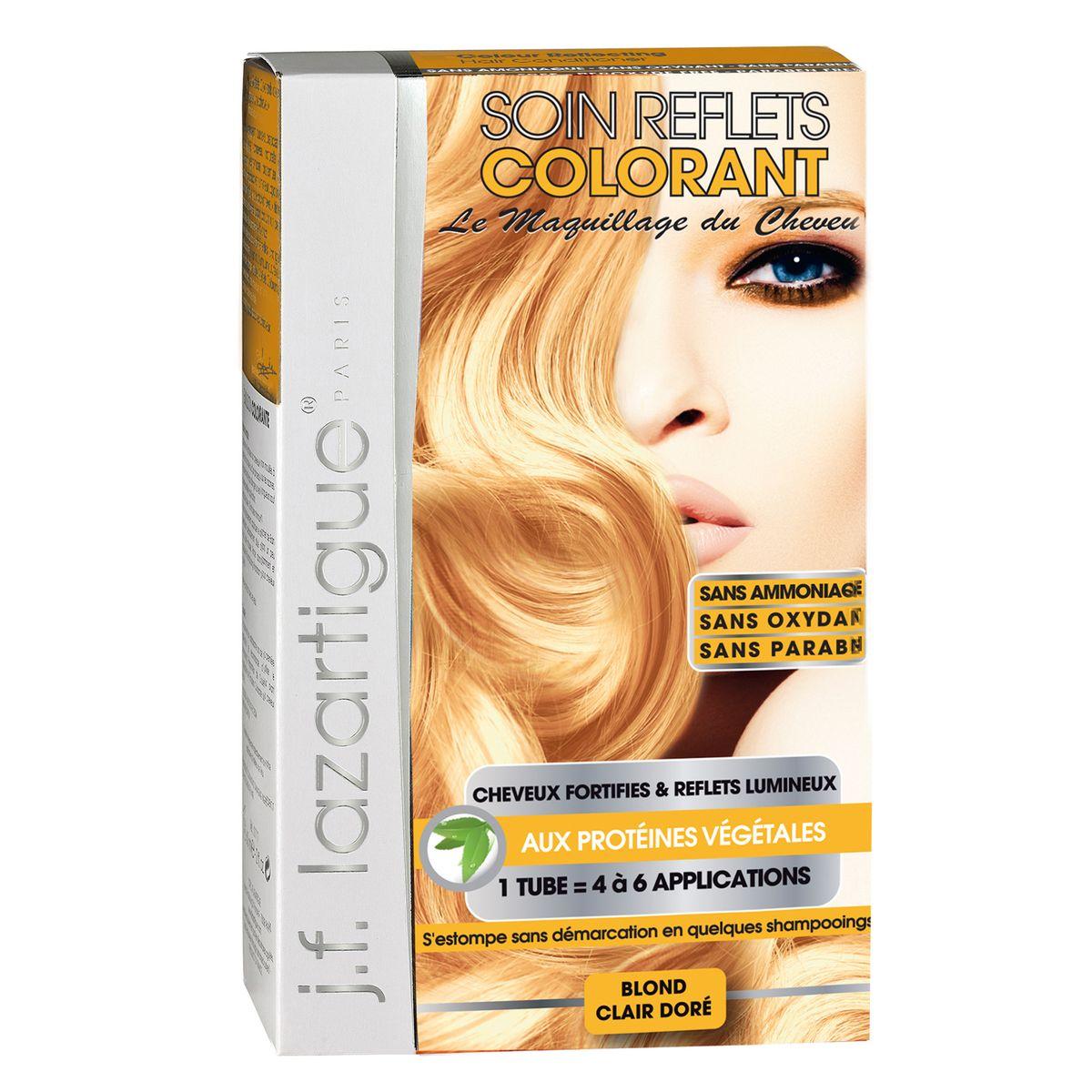 J.F.Lazartigue Оттеночный кондиционер для волос Золотистый светлый блондин 100 мл61623Оттеночный кондиционер J.F.LAZARTIGUE – это лечебный макияж для Ваших волос. Два эффекта: кондиционирование волос и легкий оттенок. Особенности: придает новый или более теплый (или холодный) оттенок, делает тон темнее или акцентирует цвет, оживляет естественный цвет или придает яркость тусклым и выцветшим на солнце волосам. Закрашивает небольшой процент седины! После мытья волос шампунем (3-6 раз) смывается. Для достижения индивидуального оттенка можно смешать два разных кондиционера: добавить к выбранному ТЕМНЫЙ РЫЖИЙ (Auburn), МЕДНЫЙ (Copper) и т.п. Не осветляет волосы. Не содержит аммиака и перекиси водорода. Не содержит парабенов. Не предназначен для окрашивания бровей и ресниц.
