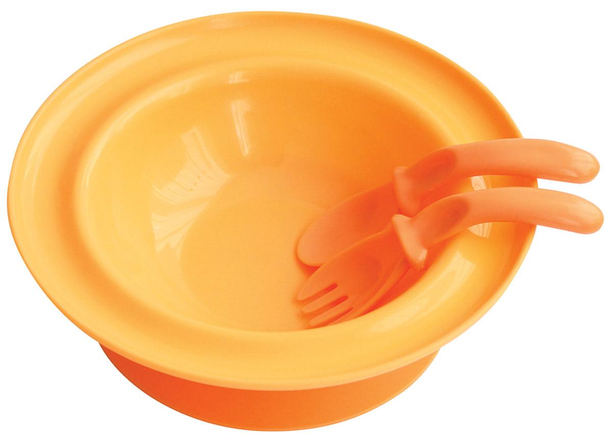 Lubby Набор посуды для кормления 3 предмета цвет оранжевый -  Все для детского кормления