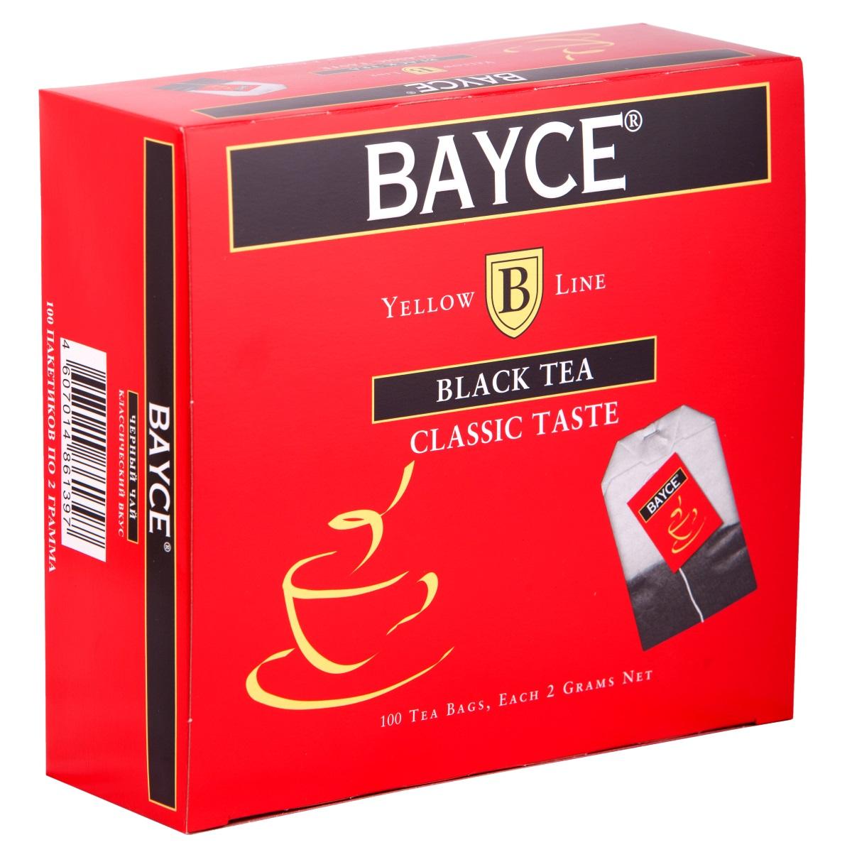 Bayce Классический вкус черный чай в пакетиках, 100 шт4607014861397Bayce Классический вкус - превосходный классический чай, собранный на чайных плантациях Индии, Кении и острова Цейлон. Приятный вкус и целебные свойства делают этот сорт особенно привлекательным.