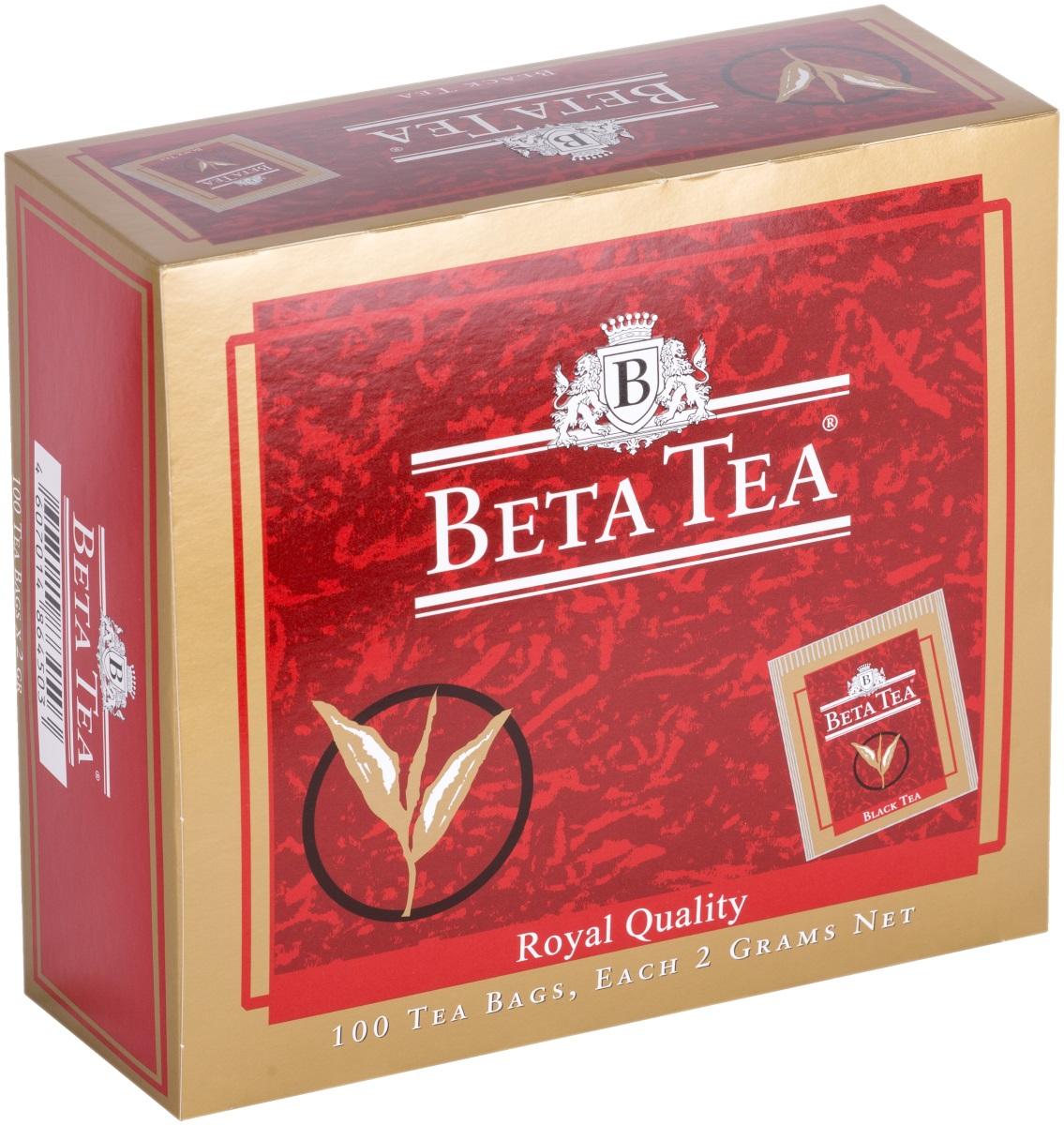 Beta Tea Королевское качество черный чай в пакетиках, 100 шт4607014864503Beta Tea Королевское качество моментально околдует вас чайным ароматом и цветом напитка. Этот чай, собранный с самых лучших плантаций Цейлона, производится в экологически чистых условиях при помощи современных технологий.