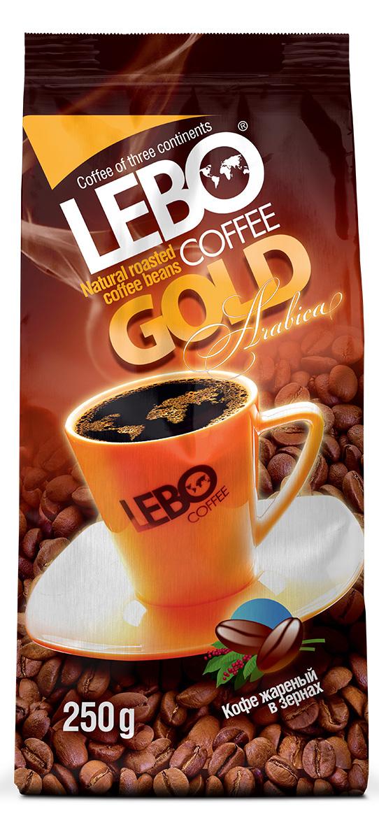 Lebo Gold Арабика кофе в зернах, 250 г4602076001088Натуральный жареный кофе в зернах Lebo Gold приготовлен из отборных сортов кофе, выращенных на высокогорных плантациях Африки, Центральной и Южной Америки. Кофе с ярко выраженным, изысканным, богатым вкусом, с легкой кислинкой, цветочными нотами и карамельным послевкусием. С самого первого глотка его бодрящий вкус и деликатный, богатый аромат покорит даже самого настоящего гурмана.
