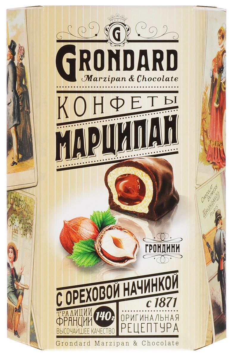 Grondard Marzipan конфеты марципановые с ореховой начинкой в шоколадной глазури, 140 г14045Шоколадные конфеты Grondard Marzipan станут отличным подарком для близких: эти нежные конфеты в классическом исполнении с изысканными начинками подарят истинное наслаждение великолепным вкусом. Такие конфеты будут уместны для вечера с приятным вам человеком, для того, чтобы пойти с ними в гости, подарить на празднике или просто побаловать себя за вечерним чаепитием. Их изысканный и оригинальный марципановый вкус поможет перенестись в атмосферу мечтаний и грез. Очаруйтесь их вкусом, оцените все грани этого изящного лакомства от компании Grondard.