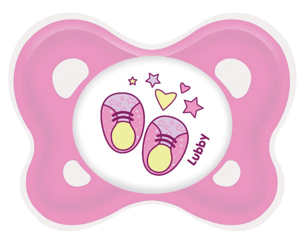 Lubby Пустышка силиконовая Кнопочка от 0 месяцев цвет розовый