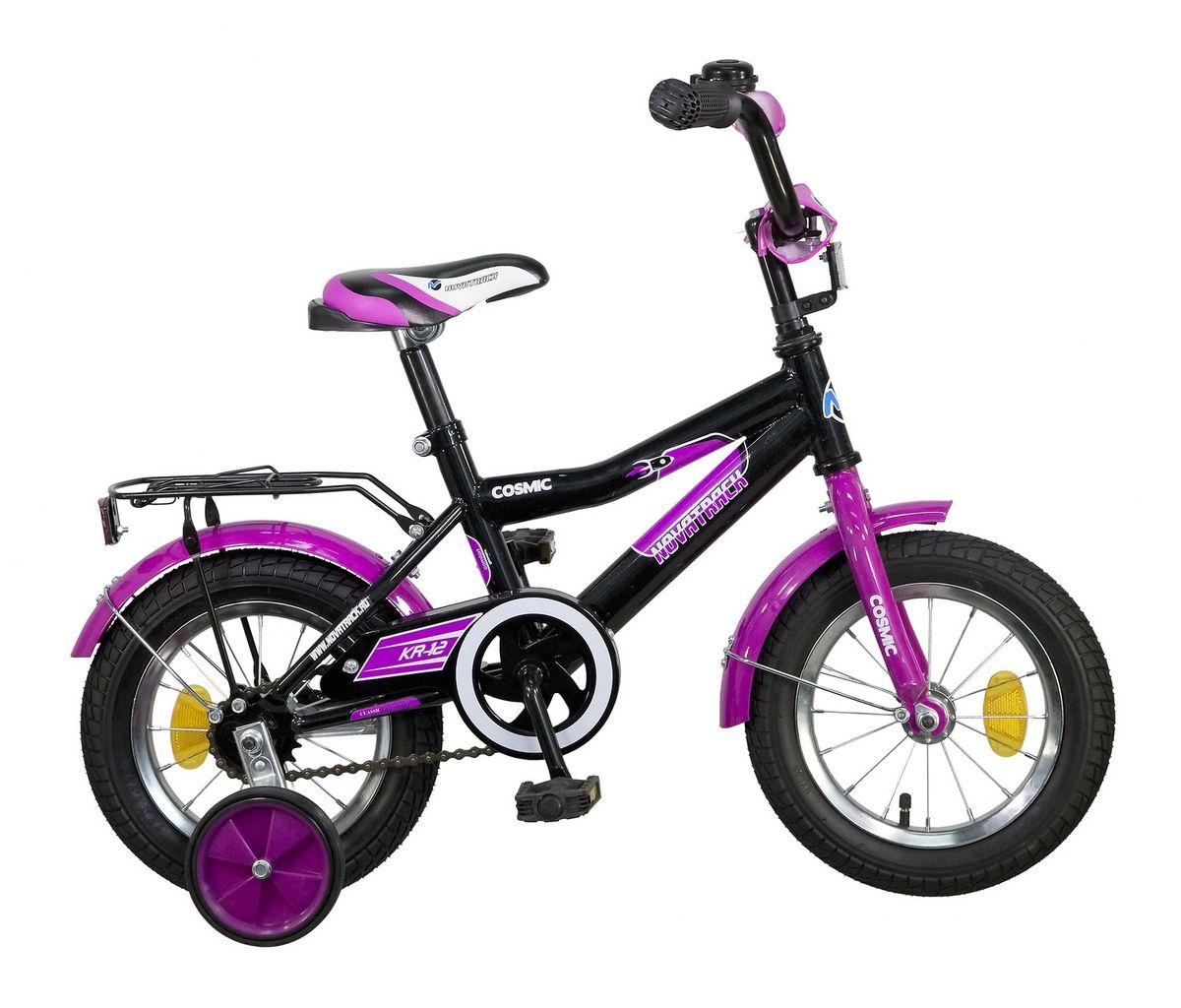 Велосипед детский Novatrack Cosmic 12, цвет: черный123COSMIC.BK5Велосипед Novatrack Cosmic 12'' – это абсолютно необходимая вещь для детей 2-4 лет. В этом возрасте у ребят очень большой уровень энергии, которую необходимо выплескивать с пользой для организма, да и кто же по доброй воле откажется от велосипеда, тем более такого, как Cosmic! Велосипед полностью укомплектован и обязательно понравится маленькому велосипедисту. Рама у велосипеда – стальная и очень прочная. Сиденье и руль регулируются по высоте и надежно фиксируются. Ножной задний тормоз не подведет ни на спуске, ни при экстренном торможении. В целях безопасности велосипед оснащен ограничителем руля, который убережет велосипед от опрокидывания при резком повороте. Дополнительную устойчивость железному «коню» обеспечивают два маленьких съемных колеса в цвет велосипеда. Не останутся незамеченными накладка на руль, яркие отражатели-катафоты, стильный звонок, защитный кожух для цепи, хромированный багажник, а также крылья, которые защитят от грязи и брызг.