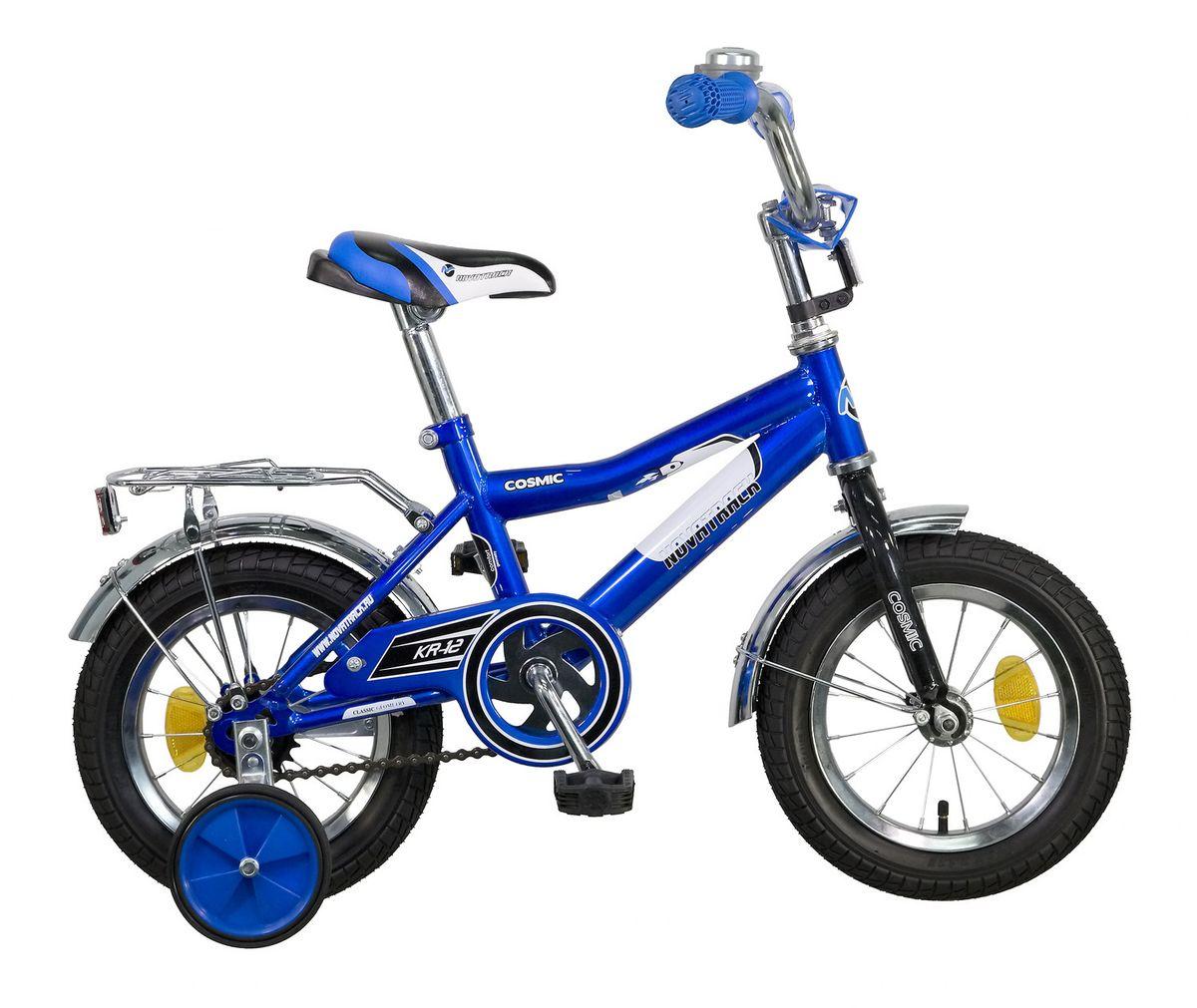 Велосипед детский Novatrack Cosmic 12, цвет: синий123COSMIC.BL5Велосипед Novatrack Cosmic 12 - это абсолютно необходимая вещь для детей от 2 до 4 лет. В этом возрасте у ребят очень большой уровень энергии, которую необходимо выплескивать с пользой для организма, да и кто же по доброй воле откажется от велосипеда, тем более такого, как Cosmic!Велосипед полностью укомплектован и обязательно понравится маленькому велосипедисту. Рама у велосипеда - стальная и очень прочная. Сиденье и руль регулируются по высоте и надежно фиксируются. Ножной задний тормоз не подведет ни на спуске, ни при экстренном торможении. В целях безопасности велосипед оснащен ограничителем руля, который убережет велосипед от опрокидывания при резком повороте.Дополнительную устойчивость железному коню обеспечивают два маленьких съемных колеса в цвет велосипеда. Не останутся незамеченными накладка на руль, яркие отражатели-катафоты, стильный звонок, защитный кожух для цепи, хромированный багажник, а также крылья, которые защитят от грязи и брызг.Какой велосипед выбрать? Статья OZON Гид