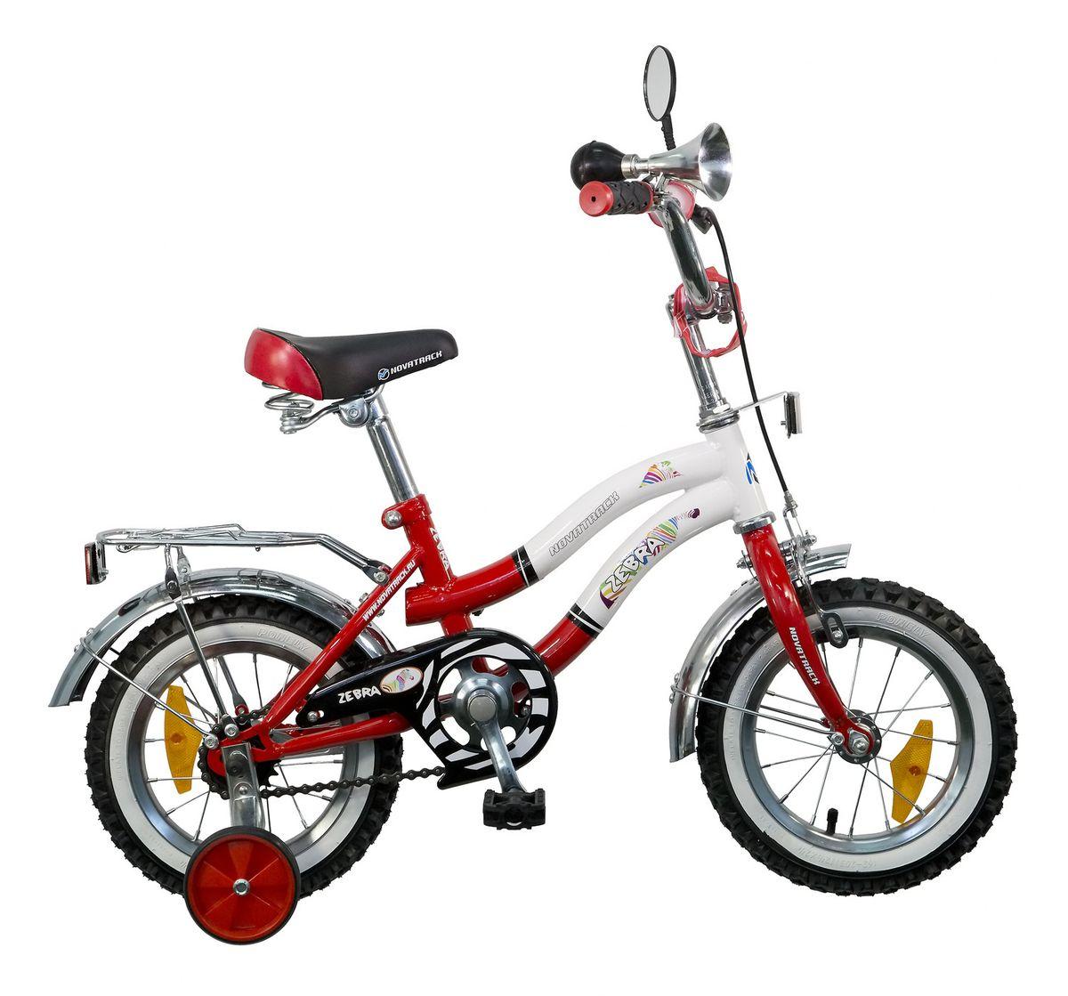 Велосипед детский Novatrack Zebra, цвет: красный, белый, 12125ZEBRA.RD5Novatrack Zebra c 12-дюймовыми колесами - это надежный велосипед для ребят от 2 до 4 лет. Данная модель специально разработана для начинающих велосипедистов: дополнительные колеса, которые можно будет снять, когда ребенок научится держать равновесие, блестящий багажник для перевозки игрушек, надежные ручной и ножной тормоза, защита цепи от попадания одежды в механизм - все это сделает каждую поездку юного велосипедиста комфортной и безопасной. Дополнительно велосипед оснащен ограничителем поворота, который не позволяет ребенку поворачивать руль на очень большой градус, и тем самым предотвращает падение, делая процесс катания еще более безопасным. Маленькому велосипедисту, будь то мальчик или девочка, обязательно понравятся блестящий звонкий гудок и зеркальце заднего вида, которые установлены на руле велосипеда. Высота сидения и руля регулируются, поэтому велосипед прослужит малышу не один год.