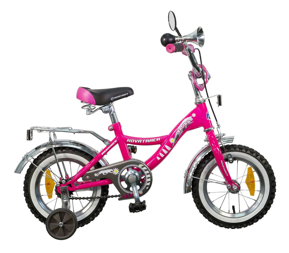 Велосипед детский Novatrack Bagira 12, цвет: розовый127BAGIRA.PN5Велосипед Novatrack Bagira 12-дюймовыми колесами – это современный, удобный и безопасный велосипед для маленьких модниц от 2 до 4 лет. Велосипед укомплектовали мягким регулируемым седлом, которое обеспечит удобную посадку во время катания. Руль велосипеда также регулируется по высоте и наклону, благодаря чему велосипед прослужит ребенку не один год. Данная модель маневренна и легка в управлении, поэтому ребенку будет просто и интересно учиться кататься на велосипеде. Для безопасности велосипед оснащен ограничителем поворота руля, который обеспечивает устойчивость во время резких поворотов, и не даст ребенку упасть с велосипеда. По бокам имеются съемные дополнительные колеса, которые нужны до тех пор, пока ребенок не почувствует себя уверенно. Быстро затормозить поможет ножной или ручной тормоз, а может и оба сразу, на усмотрение ребенка. Над колесами располагаются хромированные крылья, которые защитят от брызг и грязи. А на багажнике юная наездница сможет перевозить любимые игрушки.