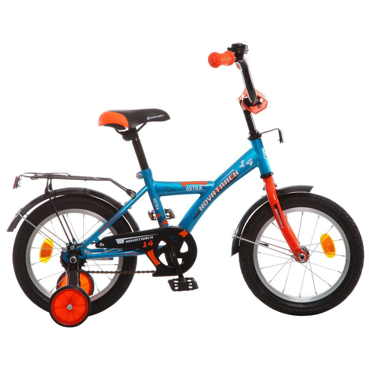 Велосипед детский Novatrack Astra, цвет: синий, оранжевый, 14143ASTRA.BL5Хотите, чтобы ваш ребенок играя укреплял здоровье? Тогда ему нужен удобный и надежный велосипед Novatrack Astra 14, рассчитанный на малышей 3-5 лет. Одного взгляда малыша хватит, чтобы раз и навсегда влюбиться в свой новенький двухколесный транспорт, который в принципе, сначала можно назвать и четырехколесным. Дополнительную устойчивость железному коню обеспечивают два маленьких съемных колеса в цвет велосипеда. Astra собрана на базе рамы с универсальной геометрией, которая позволяет легко взобраться или слезть с велосипеда, при этом он имеет такой вес, что маленький ребенок сам легко справляется со своим транспортным средством. Так как велосипед предназначен для самых маленьких, предусмотрен ограничитель поворота руля, который не позволит сильно завернуть руль и упасть. Еще один элемент безопасности – это защита цепи, которая оберегает одежду и ноги малыша от попадания в механизм. Стильные крылья защитят от грязи и брызг, а на багажнике ребенок сможет перевозить массу полезных в дороге вещей. Данная модель маневренна и легко управляется, поэтому ребенку будет несложно и интересно учиться езде.Какой велосипед выбрать? Статья OZON Гид