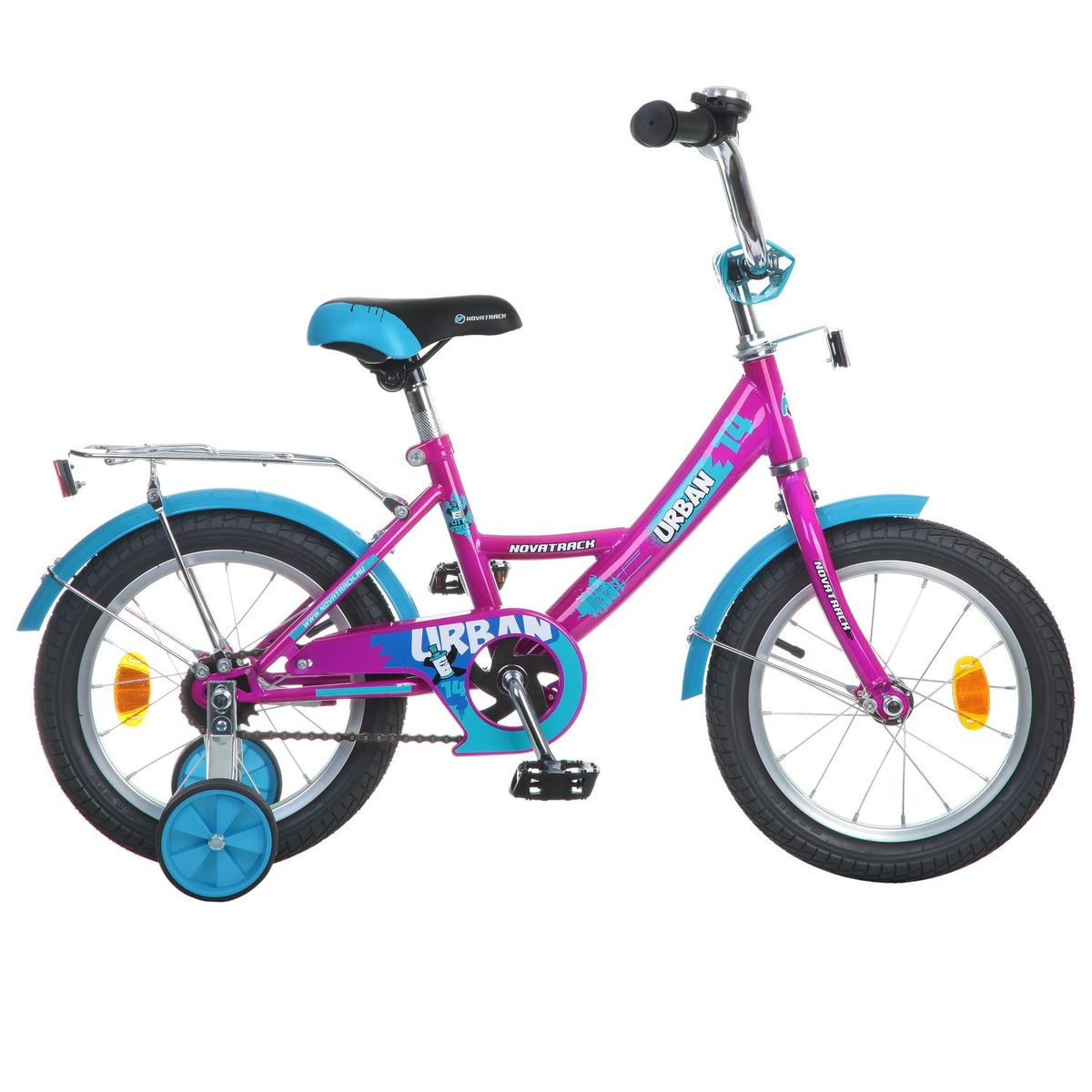 Велосипед детский Novatrack Urban, цвет: фуксия, голубой, 14143URBAN.CH6Novatrack Urban c 14-дюймовыми колесами - это надежный велосипед для ребят 3-5 лет. Высокое качество сборки гарантирует, что велосипед прослужит долго, даже если ваш ребенок будет гонять на нем ежедневно по несколько часов подряд. Велосипед оснащен защитой цепи, которая не позволит ногам и одежде попасть в механизм. Еще одно средство, способствующее безопасному вождению велосипеда в любых дорожных условиях - ограничитель поворота руля. который не позволит маленькому велосипедисту слишком сильно повернуть руль и таким образом создать себе все условия для неминуемого падения. Да и учиться ездить с таким приспособлением гораздо удобнее, ведь руль не крутится вокруг своей оси, а значит, и двигаться велосипед будет аккуратно и всегда именно туда, куда нужно. Он оборудован багажником - обязательным атрибутом любого детского велосипеда, ведь как же еще перевозить свои игрушки и другие нужные мелочи во время прогулок Для безопасности установлено целых 4 светоотражателя: задний, передний и по одному на каждом из основных колес. Колеса закрыты крыльями, которые защитят маленького наездника от грязи и брызг. А ножной тормоз позволит быстро остановиться в случае необходимости.Какой велосипед выбрать? Статья OZON Гид