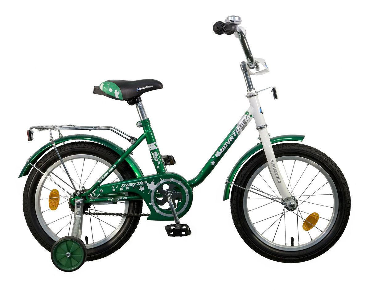 Велосипед детский Novatrack Maple 16, цвет: зеленый163MAPLE.GN5Novatrack Maple 16'' – это надежный велосипед для девочек 5-7 лет, на котором очень легко начинать обучение езеде на велосипеде, и который обязательно станет предметом гордости маленькой леди. Регулируемые сидение и руль легко адаптируются под рост ребенка. Маленькие дополнительные колеса снимаются. Багажник поможет перевезти необходимые в дороге предметы. Велосипед оснащен ножным тормозом, которым ребеноку легко пользоваться, защитой цепи, которая убережет нижнюю часть одежды от попадания в механизм. Для того, чтобы привлечь внимание прохожих, на руль установлен красивый и блестящий звоночек, который оповестит зевак об обгоне.