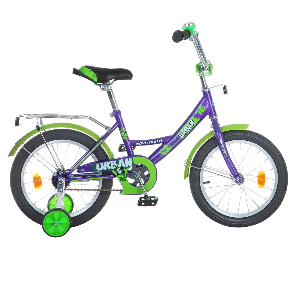 Велосипед детский Novatrack Urban, цвет: фиолетовый, зеленый, 16163URBAN.VL6Велосипед Novatrack Urban c 16-дюймовыми колесами это надежный велосипед для ребят 5-7 лет. Высокое качество сборки гарантирует, что велосипед прослужит долго, даже если ваш ребенок будет гонять на нем ежедневно по несколько часов подряд. Велосипед оснащен защитой цепи, которая не позволит ногам и одежде попасть в механизм. Велосипед оборудован багажником обязательным атрибутом любого детского велосипеда. Для безопасности установлено целых 4 светоотражателя задний, передний и по одному на каждом из основных колес. Колеса закрыты крыльями, которые защитят ребенка от грязи и брызг. А ножной тормоз позволит быстро остановиться, в случае необходимости.Какой велосипед выбрать? Статья OZON Гид