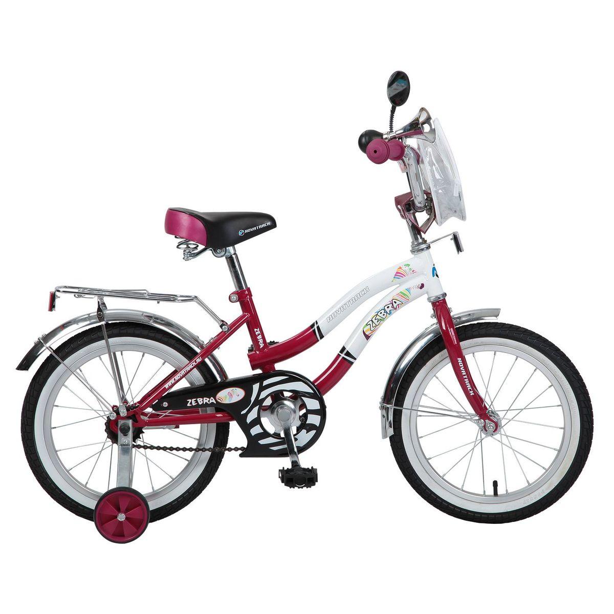 Велосипед детский Novatrack Zebra, цвет: бордовый, белый, 16125BOISTER.GN5Велосипед Novatrack Zebra c 16-дюймовыми колесами это надежный велосипед для ребят от 5 до 7 лет. Данная модель специально разработана для начинающих велосипедистов: дополнительные колеса, которые можно будет снять, когда ребенок научится держать равновесие, блестящий багажник для перевозки игрушек, надежный ножной тормоз, защита цепи от попадания одежды в механизм - все это сделает каждую поездку юного велосипедиста комфортной и безопасной. Маленькому велосипедисту, будь то мальчик или девочка, обязательно понравятся блестящий звонок и зеркальце заднего вида, которые установлены на руле велосипеда. Высота сидения и руля регулируются, поэтому велосипед прослужит ребенку не один год.Какой велосипед выбрать? Статья OZON Гид