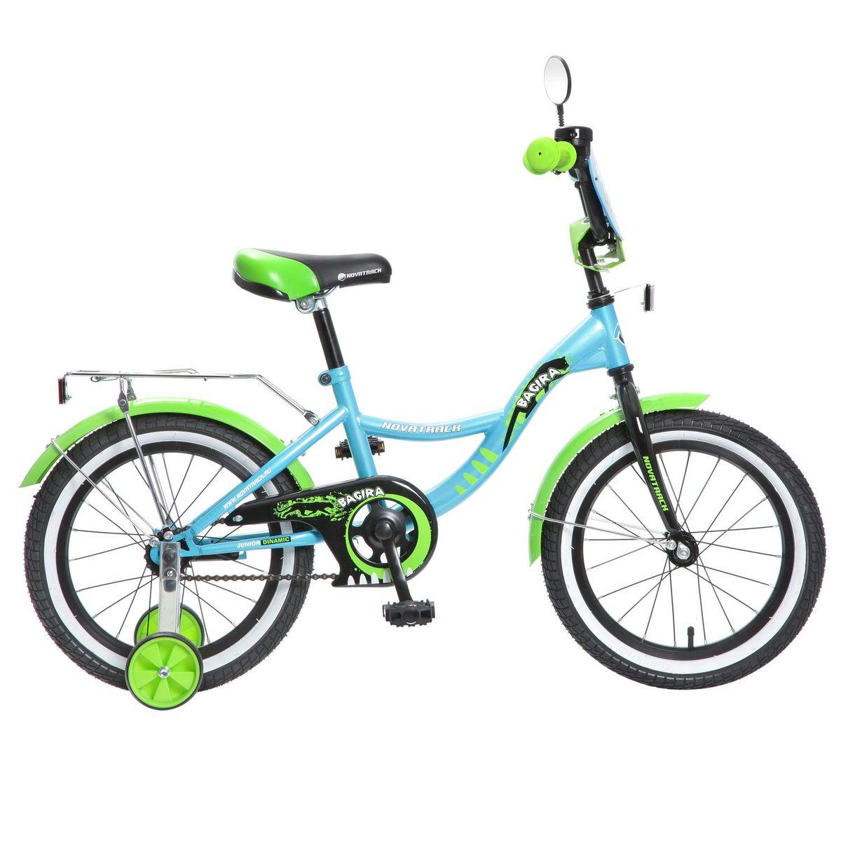 Велосипед детский Novatrack Bagira, цвет: синий, зеленый, 16167BAGIRA.BL6Велосипед Novatrack Bagira16-дюймовыми колесами это современный, удобный и безопасный велосипед для девочек от 5 до 7 лет. Велосипед укомплектовали мягким регулируемым седлом, которое обеспечит удобную посадку во время катания. Руль велосипеда также регулируется по высоте и наклону, благодаря чему велосипед прослужит ребенку не один год. Данная модель маневренна и легка в управлении, поэтому ребенку будет просто и интересно учиться кататься на велосипеде. По бокам имеются съемные дополнительные колеса, которые нужны до тех пор, пока ребенок не почувствует себя уверенно. Быстро затормозить поможет ножной тормоз. Для перевозки девчачьих аксессуаров и всяких нужностей велосипед оснастили багажником. На руле установлен звонкий гудок декоративный щиток и зеркальце, без которого не может обойтись ни одна модница.Над колесами располагаются стальные крылья, которые защитят от брызг и грязи.Какой велосипед выбрать? Статья OZON Гид