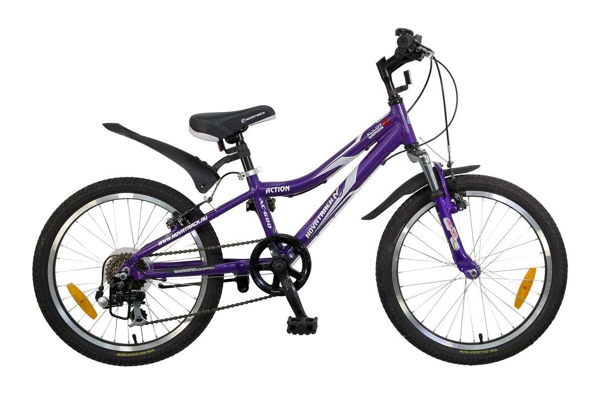 """Велосипед детский Novatrack Action, цвет: фиолетовый, 2020AH7V.ACTION.VL5Велосипед Novatrack Action 20"""" – это лучший велосипед для того, чтобы приобщить к катанию мальчика 7-10 лет. Рама велосипеда выполнена из алюминия, поэтому достаточно прочная и легкая, благодаря чему, ребенок сможет самостоятельно выносить свое транспортное средство во двор. Руль и сидение велосипеда регулируются по высоте, чтобы как можно дольше соответствовать росту ребенка. Быстро затормозить помогут надежные дисковые тормоза. 7 скоростей позволят найти оптимальный режим езды при катании с горок и на горки. Эта модель прекрасно подойдет для обучения азам самостоятельного катания. Novatrack Action 20""""очень надежный, поэтому готов к любым дорожным испытаниям."""