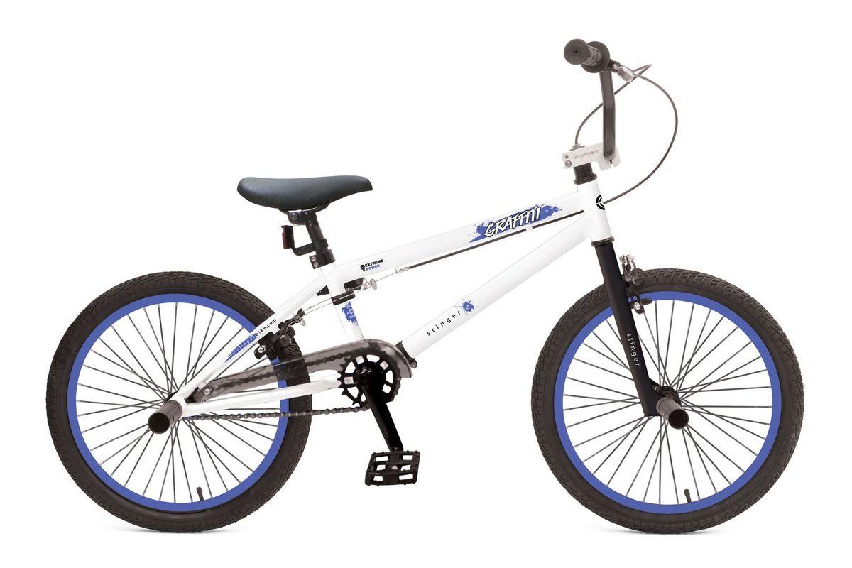 Велосипед детский Stinger BMX Graffiti 20, цвет: белый20BMX.GRAFFIT.10WT5BMX GRAFFITI - это велосипед предназначенный для выполнения трюков. Его заниженная рама на основе прочной стали и жесткая вилка формируют надежную конструкцию для катания в различных стилях: стрит, парк, флетленд и других. Данная модель оснащена надежными тормозами V-brake и поддерживает возможность крепления пегов. BMX GRAFFITI отличается своей долговечностью, простотой в обслуживании и универсальностью. Прочная стальная рама – гарантирует высокую надежность и обеспечивает хороший накат. ,Жесткая вилка – жесткая конструкция вилки позволяет эффективно использовать энергию педалирования, обеспечивая лучший разгон. ,Ободные тормоза – легкие и надежные ободные тормоза обеспечат комфортное торможение.