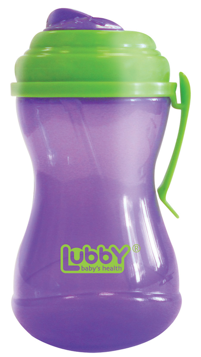 Lubby Поильник-непроливайка Twist с трубочкой от 6 месяцев цвет фиолетовый салатовый 320 мл -  Поильники