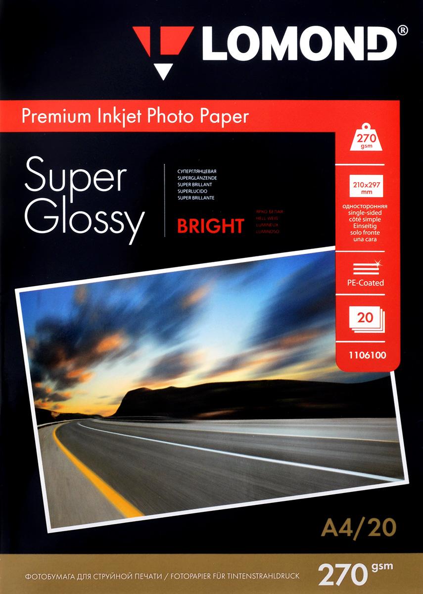 Lomond Super Glossy 270/A4/20л суперглянцевая1106100Суперглянцевая (Super Glossy) микропористая фотобумага Lomond для струйной печати.Микропористое покрытие обеспечивает столь же высокое качество печати, как и традиционная фотография. Себестоимость отпечатков на бумаге Lomond Premium Photo c использованием картриджей Lomond - ниже, чем стоимость отпечатков, получаемых по традиционной технологии с использованием химических реактивов. Благодаря полиэстеровому покрытию бумажной основы бумага Lomond Premium Photo совершенно не подвержена короблению после прохода через принтер даже при самой интенсивной заливке чернилами.Модификация Super Glossy по фактуре поверхности наиболее близка к традиционной химической фотобумаге. Отпечатки отличаются высоким глянцем.