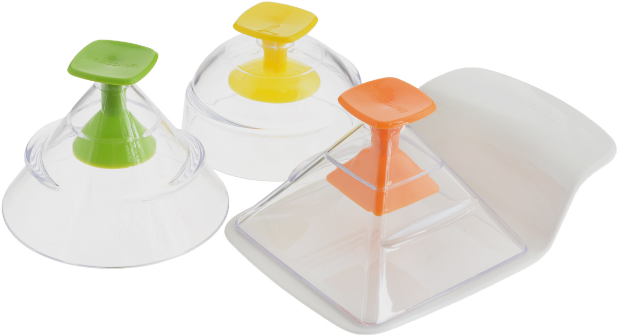 """Набор Tescoma """"Presto FoodStyle"""" состоит из трех  форм и съемного дна в виде лопатки. С  помощью таких формочек можно придать самую  разную форму закускам, гарнирам, салатам и  другим блюдам. Достаточно наполнить формы,  накрыть съемным дном и перевернуть, затем  переложить блюдо на тарелку. Изделия  изготовлены из высококачественного пластика.   Прилагается инструкция с рецептами. Можно мыть в посудомоечной машине.  Размер форм: 8 х 8 х 7 см; 9 х 9 х 7,5 см; 8,5 х 8,5  х 8 см.  Размер съемного дна: 14,5 х 9,5 х 3 см."""