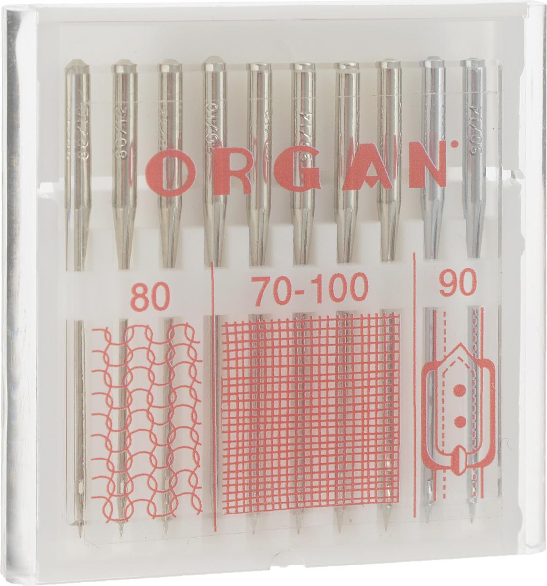 Набор игл для швейных машин Organ Combi, №80, 70-100, 90, 10 шт162356Набор Organ Combi состоит из универсальных игл, игл для джинсы и стрейч. Предназначены для использования на бытовых машинах, скорость шитья которых до 1000 ст/мин. Изделия выполнены извысококачественной стальной нелегированной проволоки. Размер игл: №80; №70-100; №90.