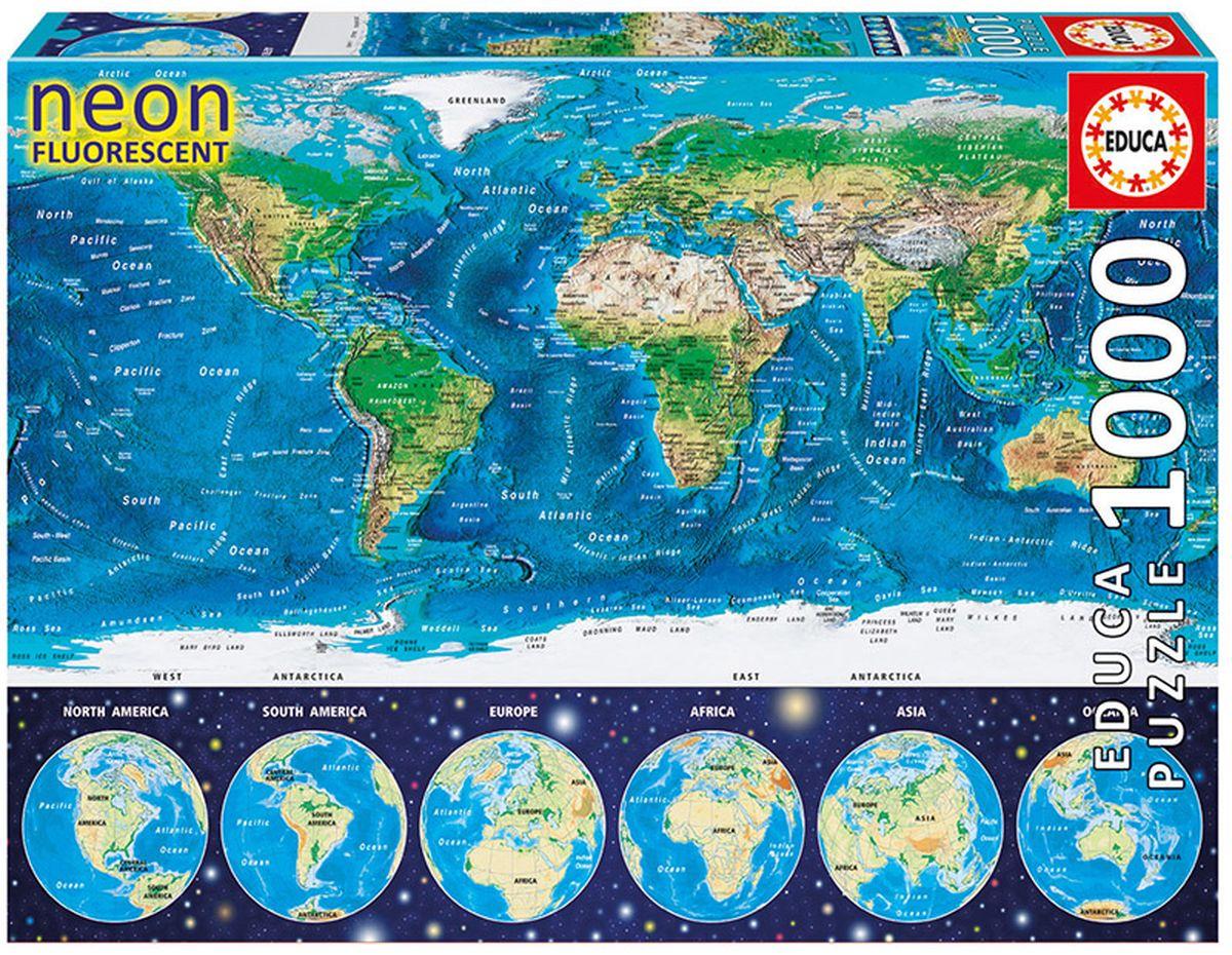 Educa Пазл неоновый Карта мира