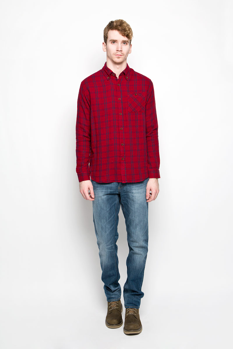 Рубашка мужская Lee Cooper, цвет: красный, синий. M19001_0121. Размер L (50) рубашка мужская lee cooper цвет темно зеленый lchmw044 размер xxl 54