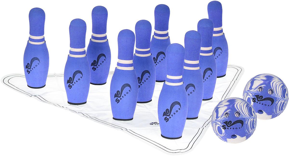 Safsof Игровой набор Боулинг цвет белый фиолетовый диаметр шара 14 см рапид страйк нерф