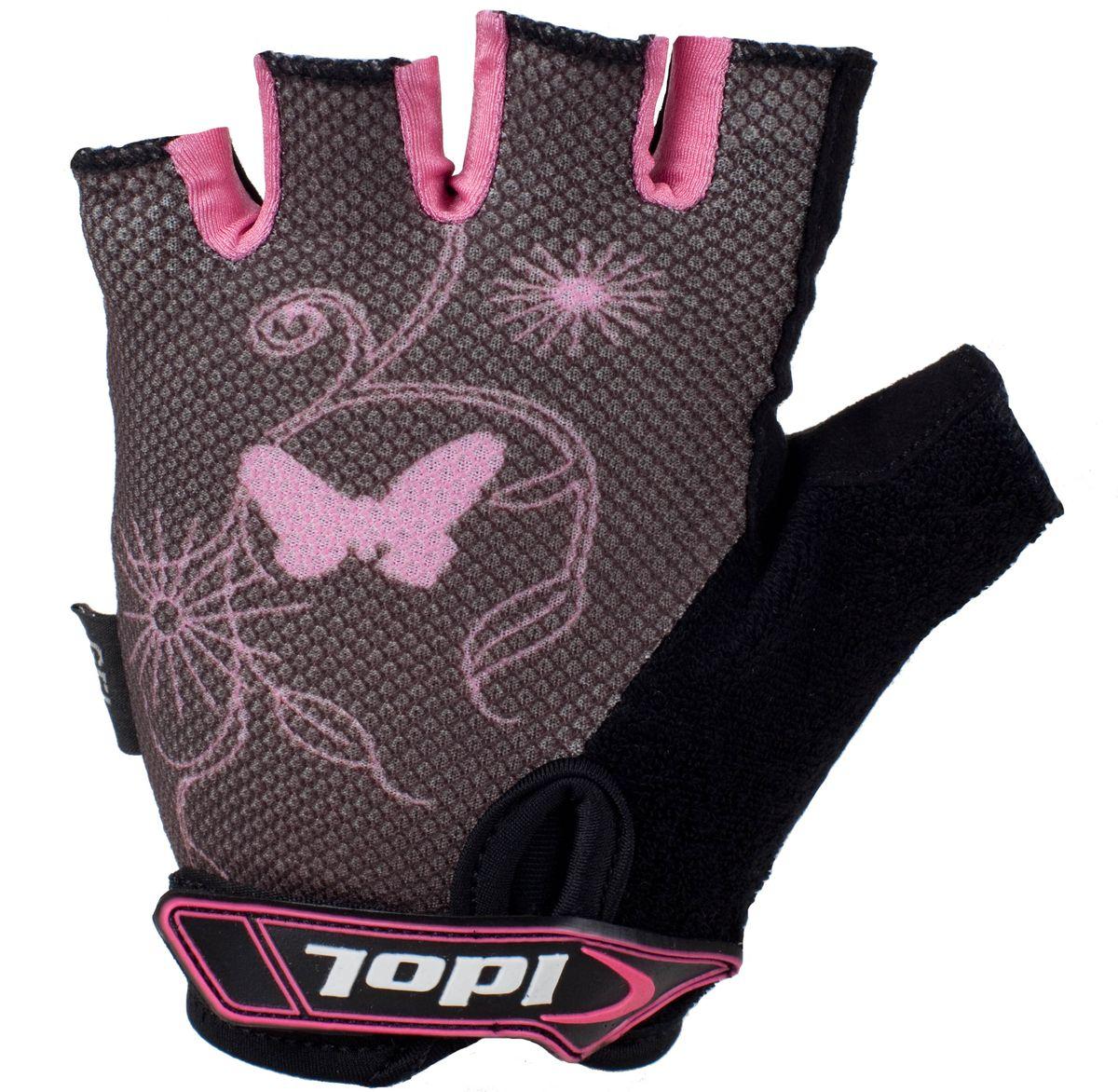 Перчатки велосипедные женские Idol, цвет: черный, розовый. 878. Размер L878Женские велосипедные перчатки без пальцев Idol предназначены для тех, кто занимается велоспортом, велотуризмом или просто катается на велосипеде. Рабочая поверхность велоперчаток выполнена из плотного сетчатого материала, а верхняя часть - из лайкры, хорошо отводящей влагу и, благодаря своей упругости, плотно сидящей на руке. На запястьях перчатки фиксируются прочными липучками. Для удобства снятия каждая перчатка оснащена двумя небольшими петельками.Высокое качество, технически совершенные материалы, оригинальный стильный дизайн, функциональность и долговечность выделяют велоперчатки Idol среди прочих.