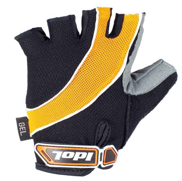 Перчатки велосипедные Idol, цвет: черный, оранжевый. 1530. Размер М1530Велосипедные перчатки без пальцев Idol предназначены для тех, кто занимается велоспортом, велотуризмом или просто катается на велосипеде. Рабочая поверхность велоперчаток выполнена из высококачественной синтетической кожи, а верхняя часть - из лайкры, хорошо отводящей влагу и, благодаря своей упругости, плотно сидящей на руке. На запястье перчатка фиксируется прочной липучкой. Высокое качество, технически совершенные материалы, оригинальный стильный дизайн, функциональность и долговечность выделяют велоперчатки Idol среди прочих.