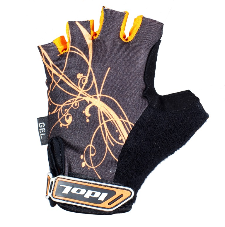 Перчатки велосипедные женские Idol, цвет: черный, оранжевый. 1573. Размер M1573Женские велосипедные перчатки без пальцев Idol предназначены для тех, кто занимается велоспортом, велотуризмом или просто катается на велосипеде. Рабочая поверхность велоперчаток выполнена из высококачественной синтетической кожи серого цвета, а верхняя часть - из лайкры, хорошо отводящей влагу и, благодаря своей упругости, плотно сидящей на руке. На запястье перчатка фиксируется прочной липучкой. Высокое качество, технически совершенные материалы, оригинальный стильный дизайн, функциональность и долговечность выделяют велоперчатки Idol среди прочих.