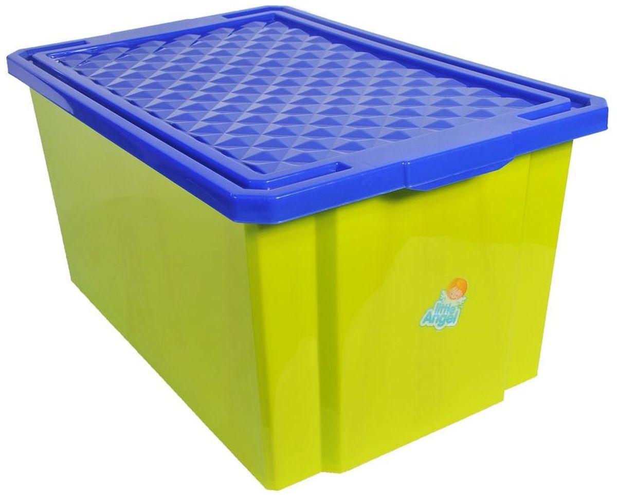 Little Angel Ящик для игрушек на колесах 57 л цвет фисташковыйLA1019GRДетский ящик для игрушек Little Angel на колесах выполнен из прочного материала и украшен забавным изображением. В нем можно удобно и компактно хранить белье, одежду, обувь или игрушки. Ящик оснащен плотно закрывающейся крышкой, которая защищает вещи от пыли, грязи и влаги. Ящик оснащен четырьмя колесами. Декор ящика износоустойчив, его можно мыть без опасения испортить рисунок. Прочный каркас ящика позволит хранить как легкие вещи, так и более тяжелый груз. Такой ящик непременно привлечет внимание ребенка и станет незаменимым для хранения игрушек, книжек и других детских принадлежностей. Он отлично впишется в детскую комнату и поможет приучить ребенка к порядку.