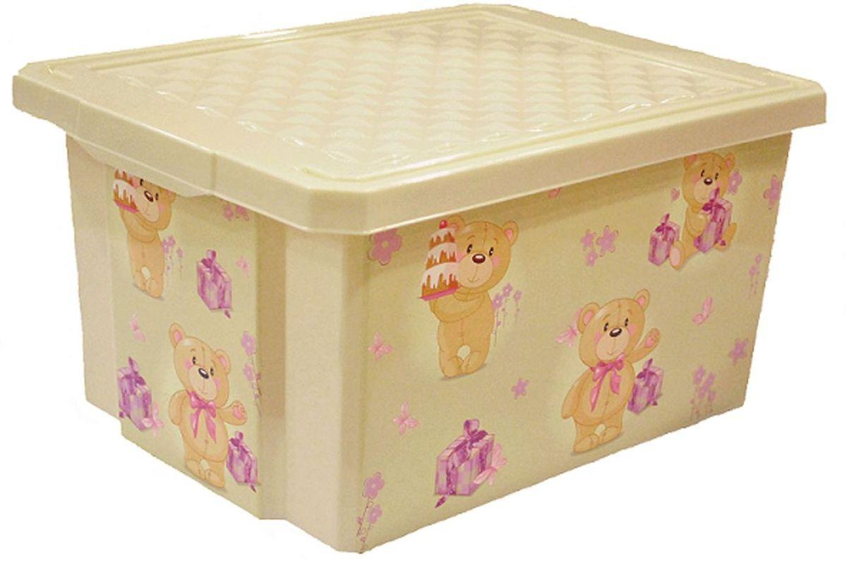 Little Angel Ящик для игрушек X-Box Bears 17 л цвет слоновая кость