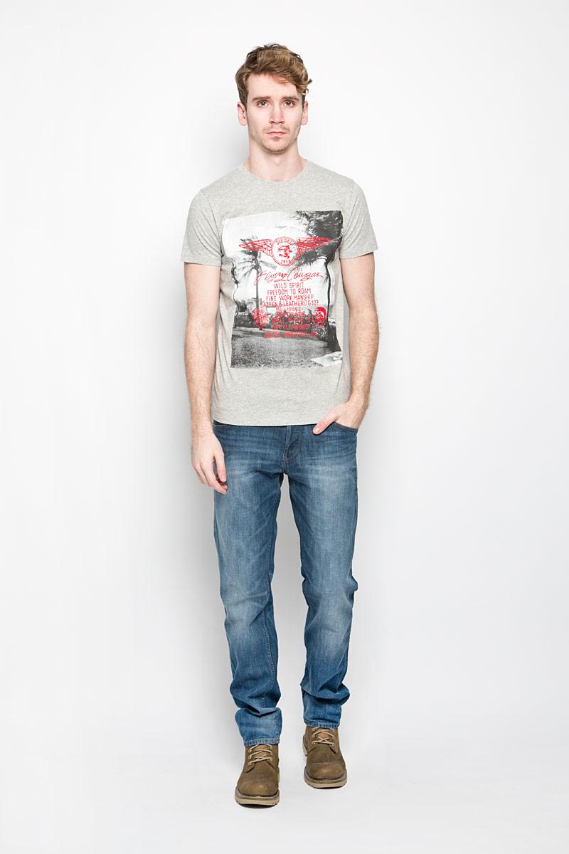 Футболка мужская Diesel, цвет: серый меланж. 00SQX5-0091B. Размер L (50) футболка женская diesel цвет бордовый 00ss5z 0wady 43u размер l 50