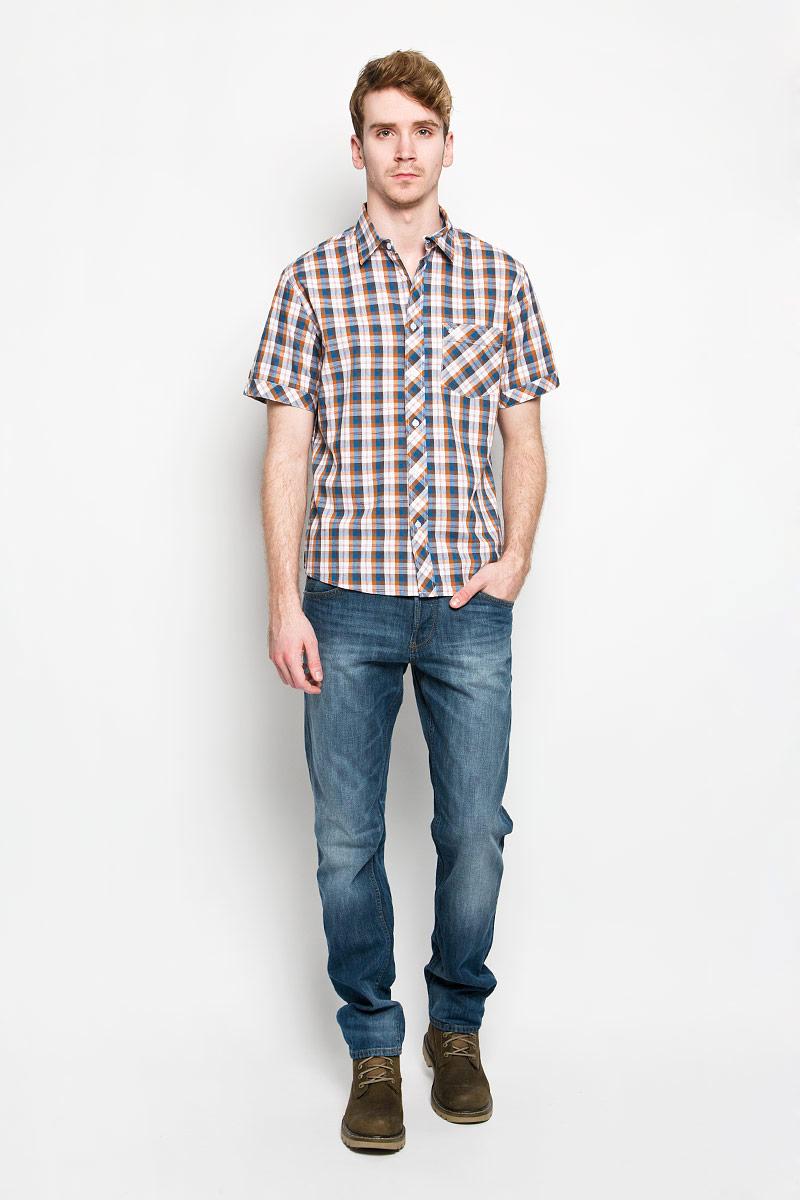 Рубашка мужская F5, цвет: белый, синий, коричневый. 150639/7262. Размер L (50)150639/7262Мужская рубашка F5, выполненная из натурального хлопка, идеально дополнит ваш образ. Материал мягкий и приятный на ощупь, не сковывает движения и позволяет коже дышать.Рубашка классического кроя с короткими рукавами и отложным воротником застегивается на пуговицы по всей длине. На груди модель дополнена накладным карманом и вышивкой с названием бренда.Такая модель будет дарить вам комфорт в течение всего дня и станет стильным дополнением к вашему гардеробу.