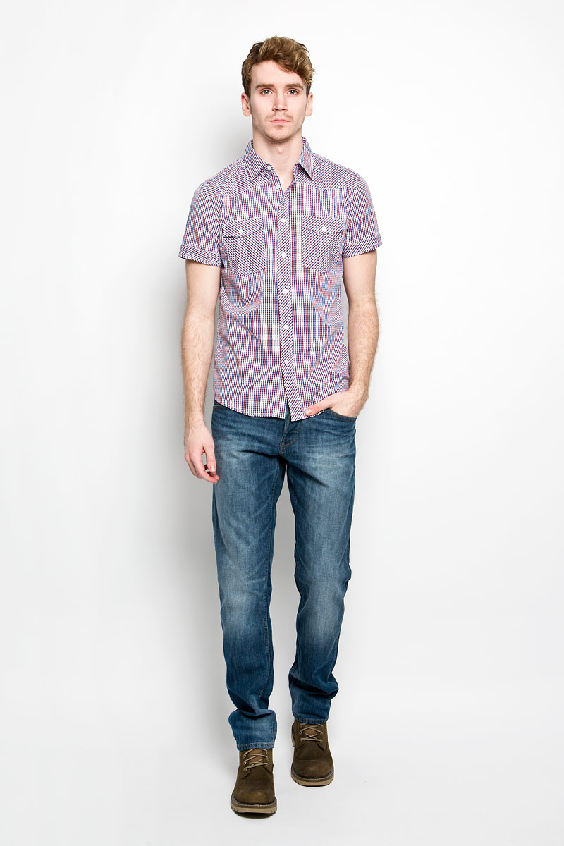Рубашка мужская F5, цвет: белый, красный, синий. 150236/7166. Размер L (50) рубашка мужская f5 цвет белый серый оливковый 150235 7151 размер l 50