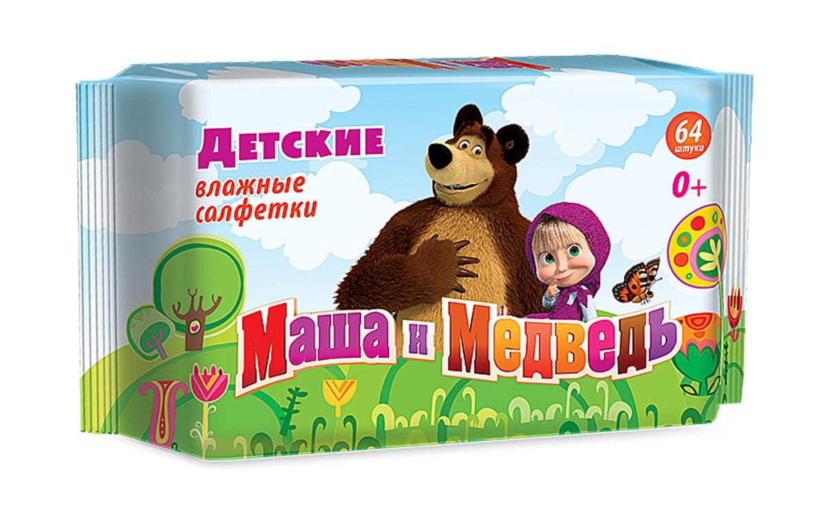 Маша и Медведь Влажные детские салфетки 64 шт -  Подгузники и пеленки