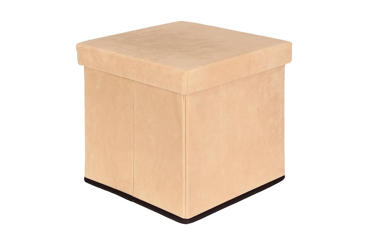 Пуф El Casa, складной, с ящиком для хранения, цвет: бежевый, 33 х 33 х 31 см пуф складной с ящиком для хранения 53 33 31 см красный 1135327