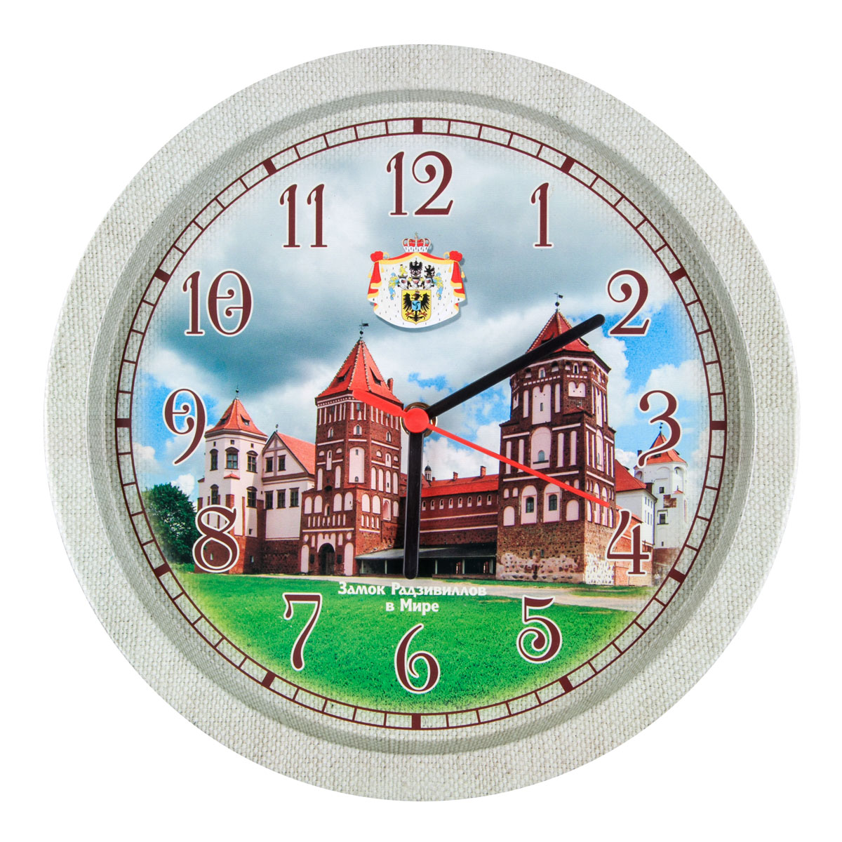 Часы настенные Miolla ЗамокCH005Оригинальные настенные часы круглой формы выполнены из стали. Часы имеюттри стрелки - часовую, минутную и секундную и циферблат с цифрами. Необычноедизайнерское решение и качество исполнения придутся по вкусу каждому. Диаметр часов: 33 см. Часы работают от 1 батарейки типа АА напряжением 1,5 В.