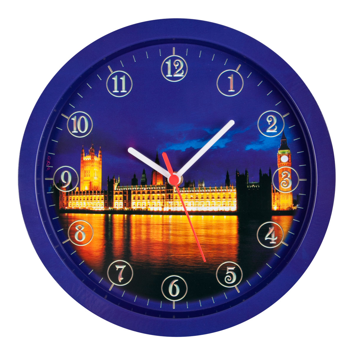 Часы настенные Miolla Лондон, цвет: синий, оранжевыйCH006Оригинальные настенные часы круглой формы выполнены из стали. Часы имеют три стрелки - часовую, минутную и секундную и циферблат с цифрами. Необычное дизайнерское решение и качество исполнения придутся по вкусу каждому.Оформите свой дом таким интерьерным аксессуаром или преподнесите его в качестве презента друзьям, и они оценят ваш оригинальный вкус и неординарность подарка.