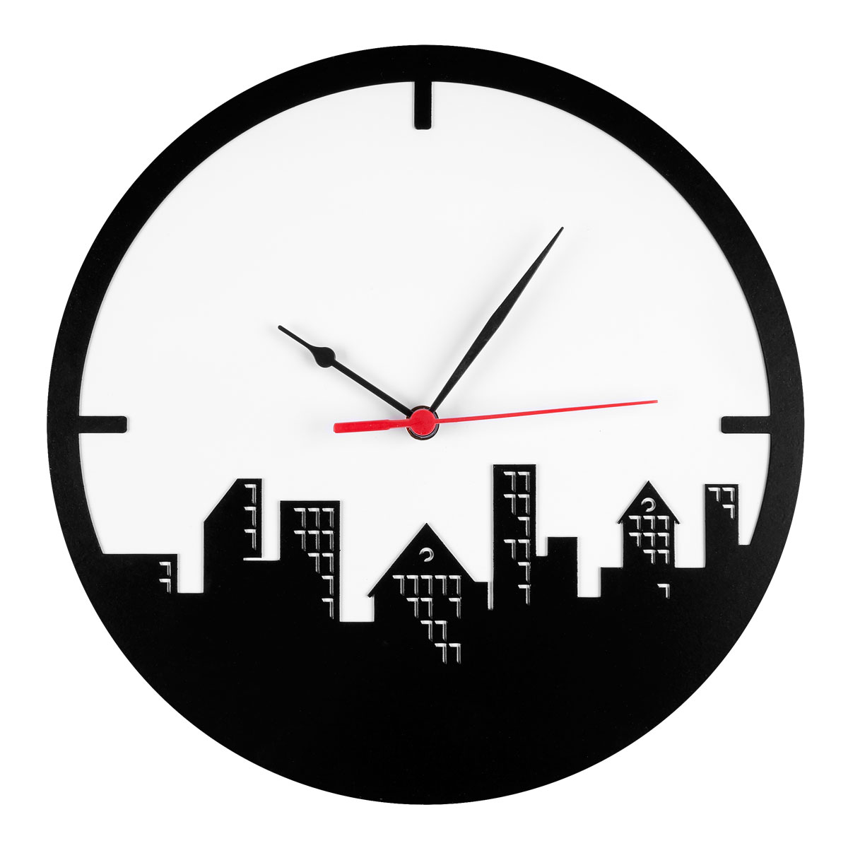 Часы настенные Miolla Город, цвет: белый, черныйCH008Оригинальные настенные часы круглой формы выполнены из стали. Часы имеют три стрелки - часовую, минутную и секундную и циферблат с цифрами. Необычное дизайнерское решение и качество исполнения придутся по вкусу каждому.Оформите свой дом таким интерьерным аксессуаром или преподнесите его в качестве презента друзьям, и они оценят ваш оригинальный вкус и неординарность подарка.