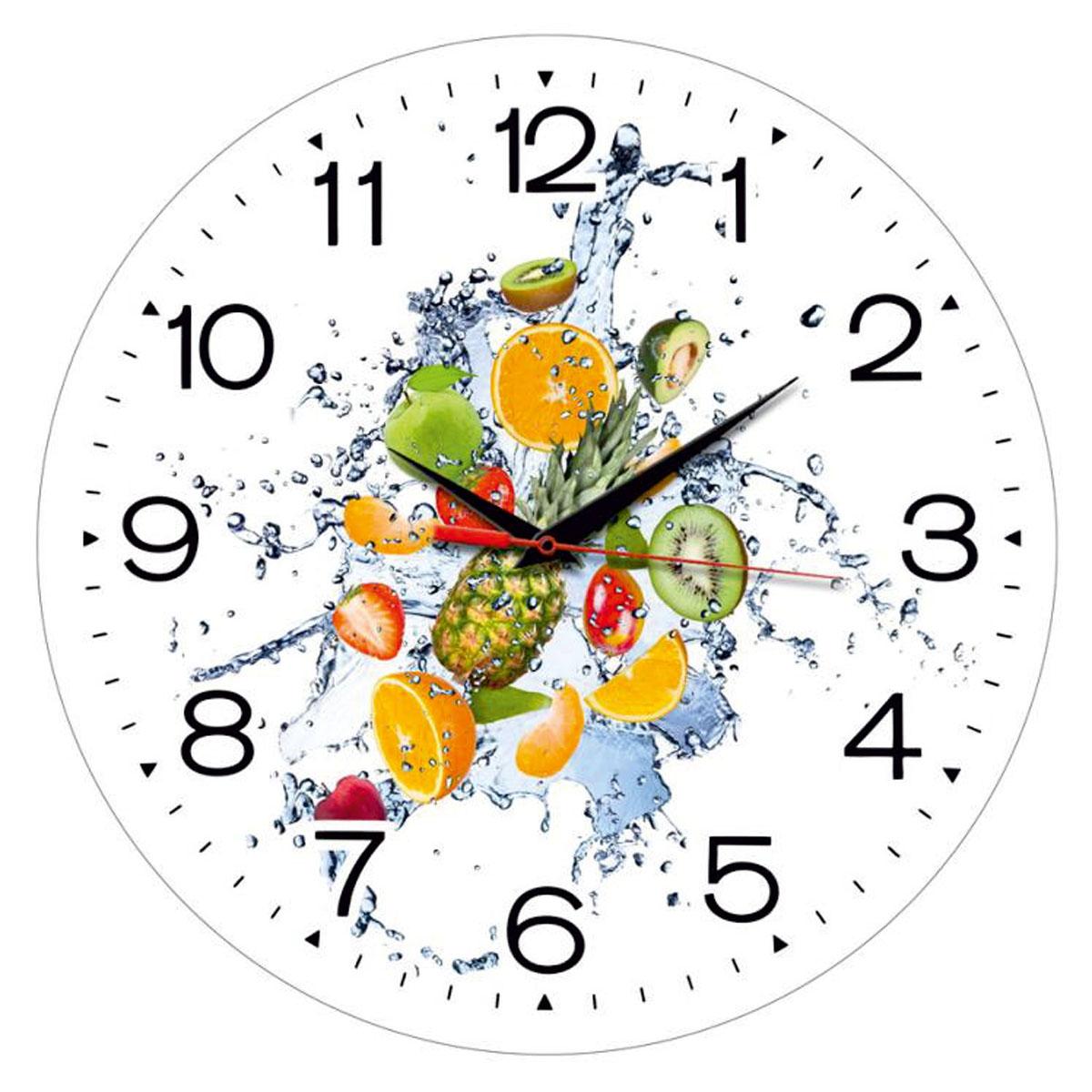 Часы настенные Miolla ФруктыСК011 2433Оригинальные настенные часы круглой формы выполнены из закаленного стекла. Часы имеют три стрелки - часовую, минутную и секундную и циферблат с цифрами. Необычное дизайнерское решение и качество исполнения придутся по вкусу каждому.Диаметр часов: 28 см.Часы работают от 1 батарейки типа АА напряжением 1,5 В.