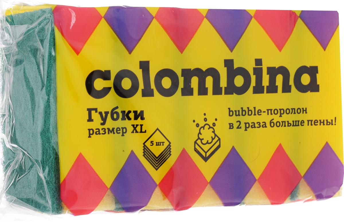 Губка для мытья посуды Colombina, 5 штК1.2Губки Colombina предназначены для мытья посуды и других поверхностей. Изделия выполнены из особого Buble-поролона, который образует густую пену. Мягкий слой используется для деликатной чистки. Жесткий абразивный слой предназначен для удаления сильных загрязнений.В комплекте 5 губок.