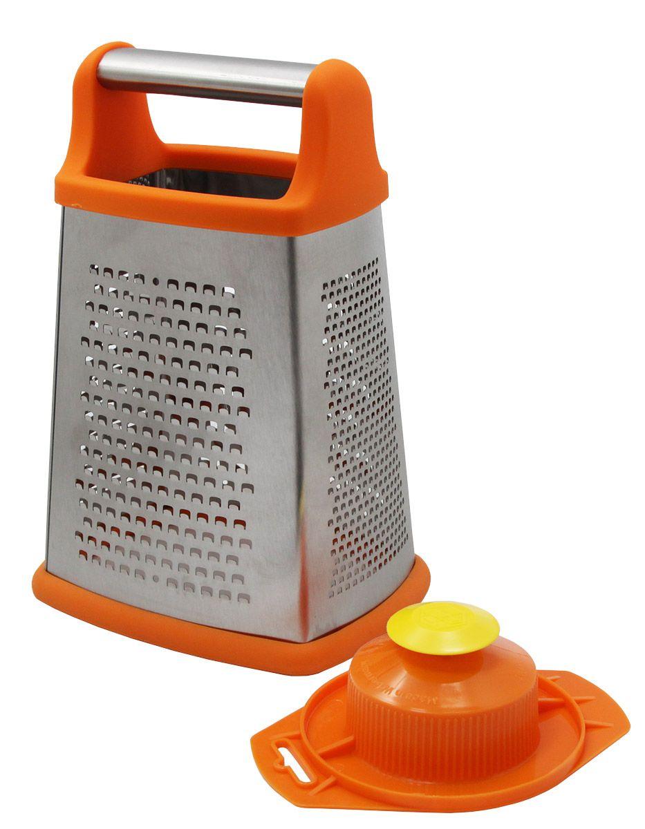 Терка Borner, четырехгранная, с плододержателем, большая, цвет: оранжевый3610163Терка Borner оригинального дизайна займет достойное место среди аксессуаров на вашей кухне.Четырехгранная металлическая терка позволит вам натереть продукты четырьмя разными способами: от мелкого пюре до тонкой плоской стружки. Изготовлена из высококачественной нержавеющей стали и имеют острейшую заточку. Так же для удобного и безопасного использования к терке прилагается плододержатель.Высота терки: 22 см